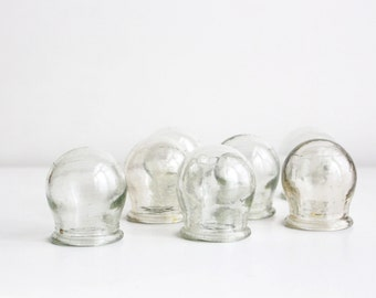 Soviet Vintage Medical Glass Cupping Jar, Small Medicine Cup, Apothecary Jar, Massage Cupping, from USSR era 1970s