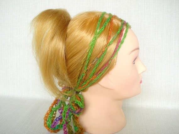Crochet Hair Wrap : Crochet hair scarf wrap Gypsy Hippie head scarf Multicolor crochet ...