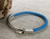 Distressed Turquoise Leather Bracelet, Antique Silver Hook Clasp, Leather Bangle, Modern, Unisex