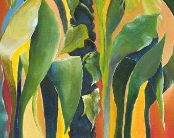 Tropical Wall Art, Contemporary Home Decor Green Painting, Still Life, Green Art, Giclee of Original Acrylic Canvas Title: Mixed Bananas 2b