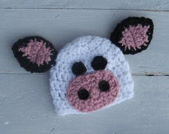Cow Hat / Baby Cow Hat / Farm Baby / Cow Photo Prop / Crochet Cow Hat / Crochet Baby Cow Hat / Farm Photo Prop / Baby Photo Prop