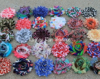Shabby Chic Flower Clip in Your Choice of Color/Pattern - 2 1/4 Inch Flower Clip - Girls Flower Clip - Adult Flower Clip - Shabby Flower