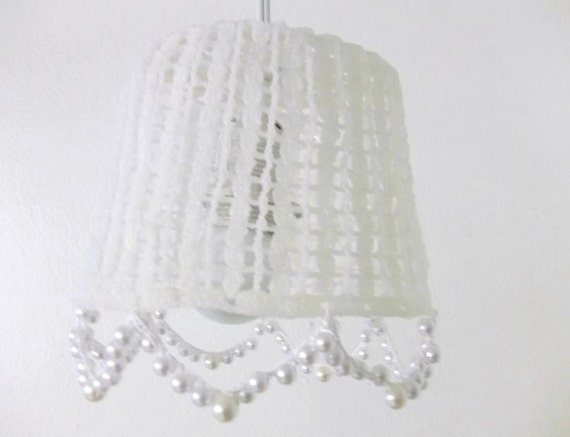 Crochet Hanging Lamp Shades in a White Color with hanging pearls