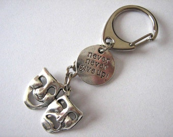 Theatre Keychain Comedy Tragedy Keyring Inspirational Gift Drama Director Actor Actress Thespian Am Dram Gift