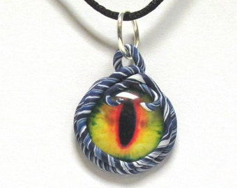 OOAK Clay Ringed Dragon Eye Necklace 02