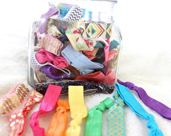 20  Mixed Elastic Hair Tie Grab Bag, Solid and Print Ponytail Holders, Hair Bands, Boho Hair Accessories, Womens Hair Fashions