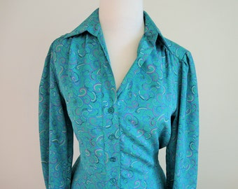 1970s Paisley Street Silk Dress