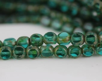 6mm Antique Style Triangle Cut : Teal  Czech Glass Beads (25)