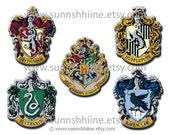 Hogwarts School Crest Symbols Iron-on Transfer Design (Harry Potter, Slytherin, Hufflepuff, Ravenclaw, Gryffindor, DIY)