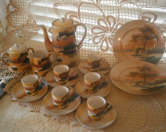 Demitasse Coffee Set, 19 Pcs. Good for Movie/TV Sets, Hand Painted, Made in Japan, Vintage