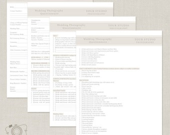 Wedding Photography Questionnaire - C200, INSTANT DOWNLOAD