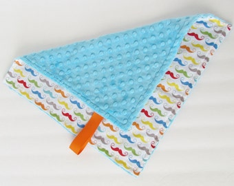 Mini Minky Blanket, Lovey Blanket, with Pacifier Loop, Geekly Chic Mustaches, Blue Minky Dimple Dot, Riley Blake