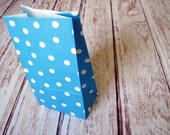 Party Favor Bags-10 BLUE Polka Dot Lunch Sack-Dotted Party Favor Bags-Wedding Gift Bag-Polka Dot Birthday Treat Bag-Blue Goodie Bag