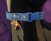 Cat Collar - Bastet Egyptian Hathor Blue Gold Metallic Highlights-Safety Release Buckle, Bell and Choice of Charm for your Special Kitty