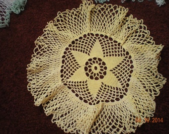 Vintage Bright Yellow Hand Crocheted Doiley Measuring 10 1/2 inches Round In Mint Condition