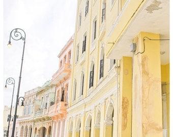 Pink Yellow Pastel Buildings Malecon in Old Havana Cuba Print Home Decor Office Decor