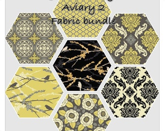 Joel Dewberry FAT QUARTER Bundle - AVIARY 2 - Granite Palette - Free Spirit Fabric - 7 pcs