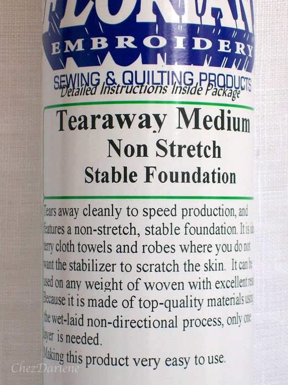Tearaway Black Medium Stabilizer - Machine Embroidery Non Stretch Stabilizers - Stabilizes Towels, Robes and Woven Fabric