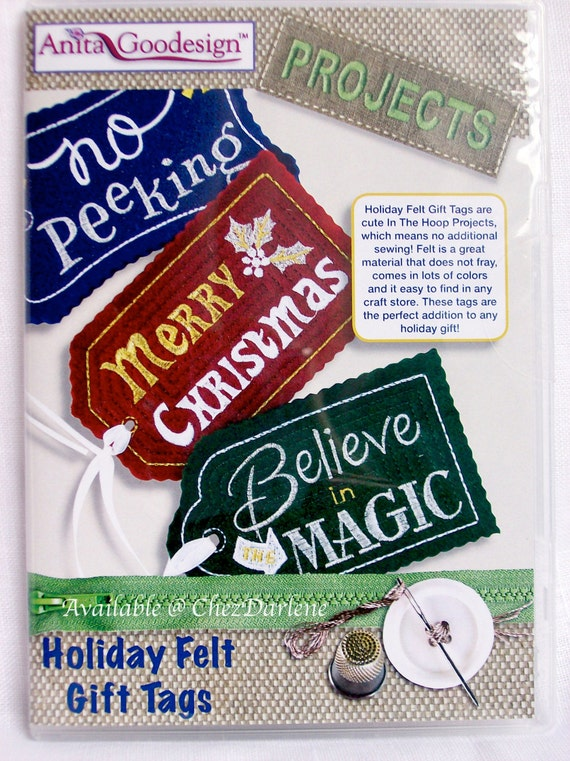 Christmas machine embroidery gift tag designs holiday felt