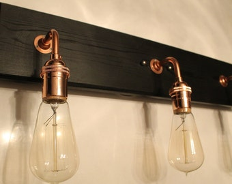 Items similar to copper pipe lamp with edison bulb copper lamp copper pipe lamp industrial for Edison bathroom light fixtures