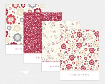 Red All Occasion Notecards - Set of 4