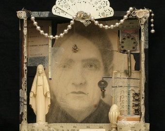 Assemblage with Vintage Female Photo, Madame Amelia Clairvaux