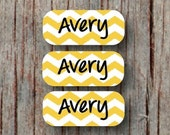 140 Custom Clothing Labels Iron on Labels Personalized Iron on Clothes Tags Daycare Name Labels School Camps Yellow Chevron - Uncut - 001