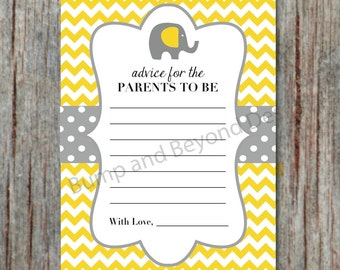 Yellow Grey Elephant Baby Shower Advice Cards for New Parents Chevron Printable Digital PDF Instant Download 5x7 - 008
