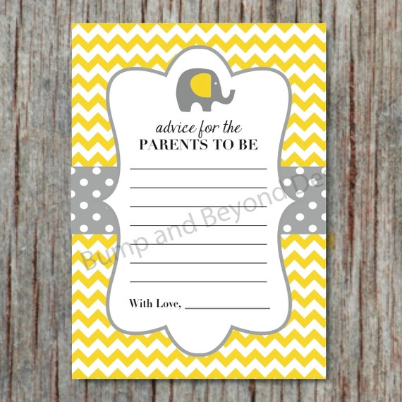 Baby Shower Tips For New Moms: Items Similar To Yellow Grey Elephant Baby Shower Advice