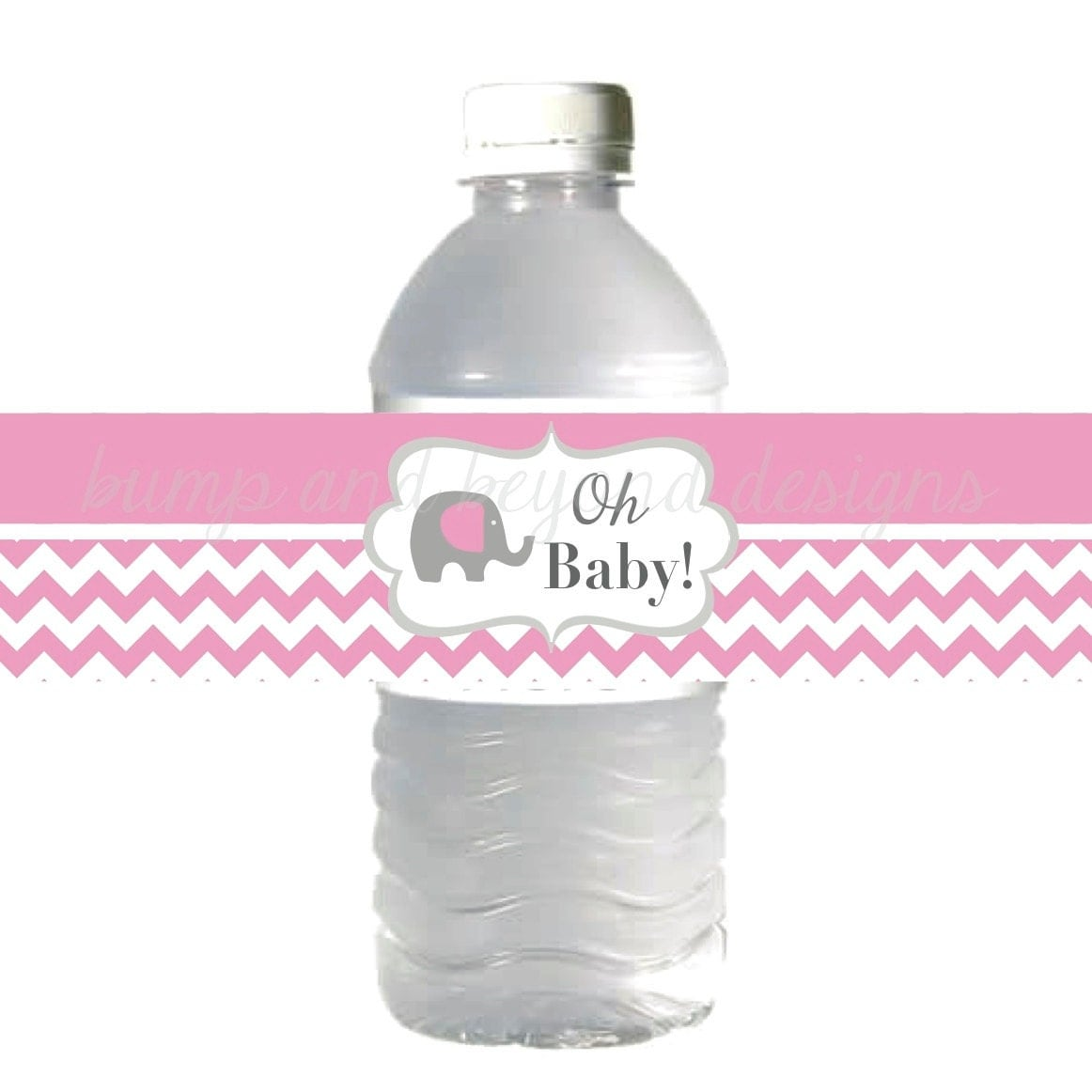 baby shower water bottle labels gum pink grey chevron elephant