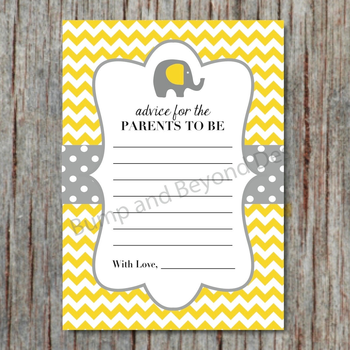 yellow grey elephant baby shower advice cards for new parents