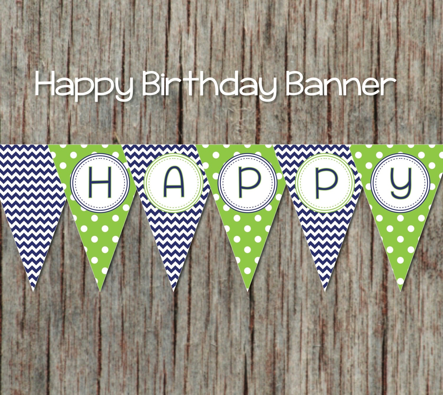 navy blue lime green printable happy birthday banner diy