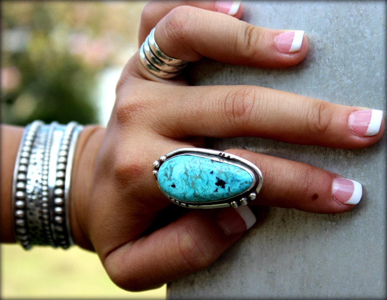 Reserved Large Turquoise Statement Ring Boho Style Handmade
