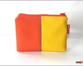 Cosmetic bag, make up bag, small pouch, yellow, orange,