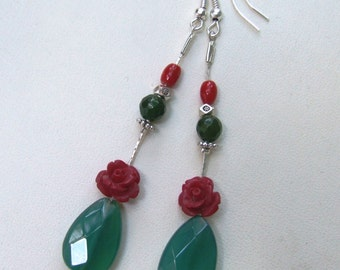 Unique charming dangle earrings made of green jade drop and resin burgundy (bordeaux, red) rose.