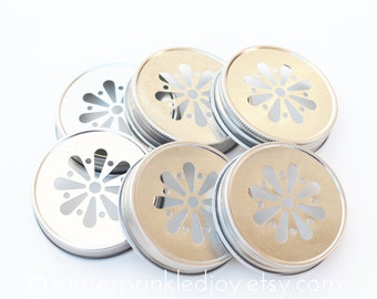 SALE 6 Silver Mason Jar Lids, Daisy Flower Cut, with optional Pulp Liners, Christmas packaging, Christmas Gift, DaisyLid, Made in the USA