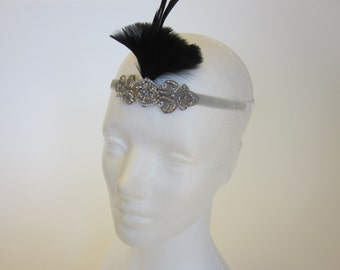 Black GREAT GATSBY headpiece, fascinator, 1920s headpiece, 1920s headband, costume gatsby dress,flapper dress, 1920s dress, bridal headpiece