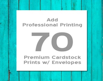 70 Professionally Printed Flat Cards Premium Cardstock with White Envelopes