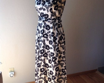 Vintage maxi dress black and white floral 12