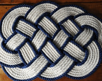 Rope Rug Rope Knot Nautical Decor Cotton Rope Mat Navy