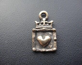 Solid bronze crown heart charm pendant 1 pc., bronze crown heart