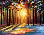 "Sun Of January — PALETTE KNIFE Modern Impressionist Oil Painting On Canvas By Leonid Afremov - Size: 40"" x 30"" (100 cm x 75 cm)"
