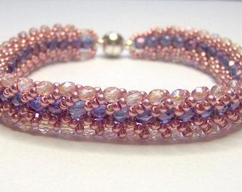 Peach and purple bracelet, seed bead bracelet, herringbone bracelet, peach bracelet, chevron bracelet, beadwoven bracelet, flat spiral BR010