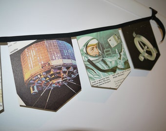 Handmade Bunting Garland - A Trip To The Moon - Vintage 1960's Science Book Pages