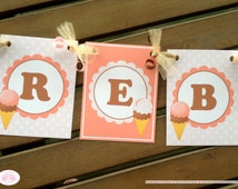 Ice Cream Birthday Party Name Age Banner Small Summer Pink Orange Girl 1st 2nd 3rd 4th 5th 6th 7th 8th Boogie Bear Invitations Rebecca Theme