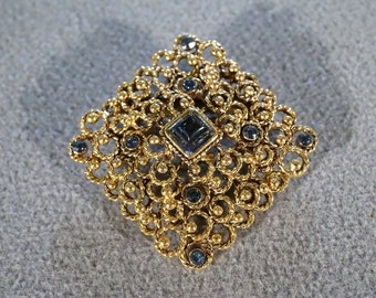 Vintage Square Pin Brooch with Yellow Gold Tone Scrolling and Round, Square Blue Rhinestones  B
