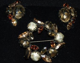 signed regency brooch and earring set