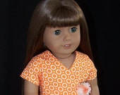 American Girl Doll Orange N White Rings Wrap Dress