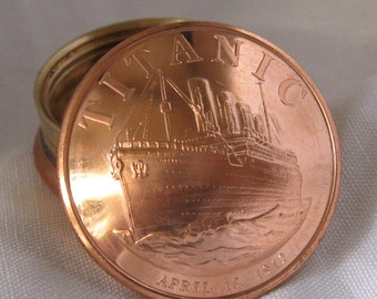 Titanic Large 1 Ounce Copper Round Coin Screw Top Lid Snuff Box / Stash Box / Trinket Box / Keepsake - Handcrafted