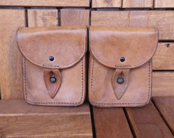 Vintage Army Tan Brown Leather Two Compartments Belt Pouch Bag